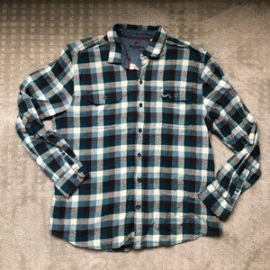 Woolrich Plaid Flannel Blue and Brown XL